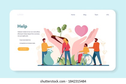 Volunteer help web banner or landing page. Charity community support people, donate clothes, take care of the planet, make a donation. Idea of care and humanity. Isolated vector illustration