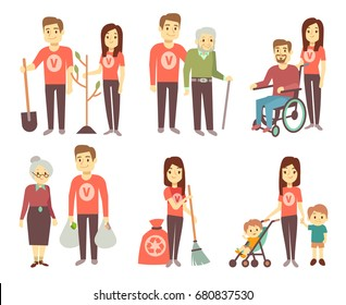 Volunteer helping to disabled people vector characters set for volunteering concept. Volunteer help and assistance disability people illustration