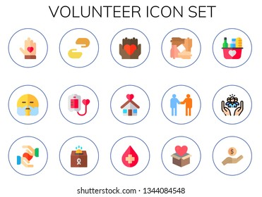 volunteer icon set. 15 flat volunteer icons.  Collection Of - voluntary, relief, charity, blood donation, solidarity, shelter, relationship, donation, social care