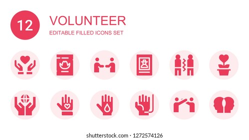 volunteer icon set. Collection of 12 filled volunteer icons included Donate, Wanted, Friendship, Donation, Voluntary, Blood donation, Relationship, Charity