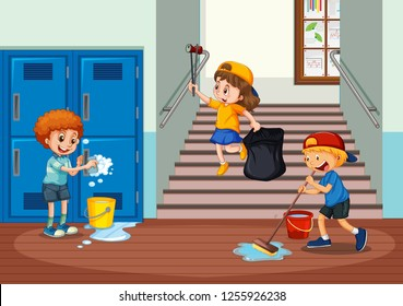 Kids Cleaning Clipart Stock Illustrations Images Vectors