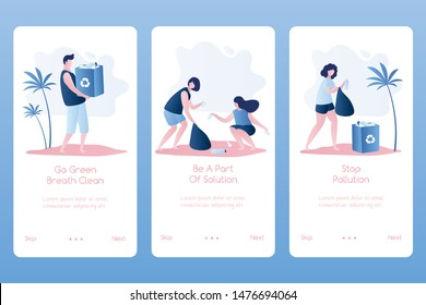 Volunteer people cleaning garbage on beach area. Volunteering, man and women collecting trash. Three banners template for mobile application. Trendy style vector illustration