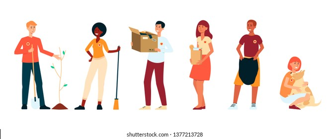 Volunteer people doing charity activities - planting tree, cleaning up, giving clothes donation, taking care of animals, donating food. Isolated cartoon style vector illustration on white background,