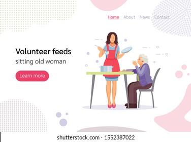 Volunteer people doing charity activities. Volunteer woman feeds sitting old woman, stands giving food to elderly homeless woman. Homeless, volunteer, help, poor, charity concept vector illustration