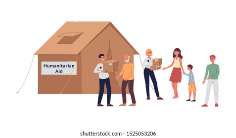 Volunteer people giving humanitarian aid to people next to tent, cartoon man and woman holding cardboard boxes and giving assistance, isolated flat vector illustration