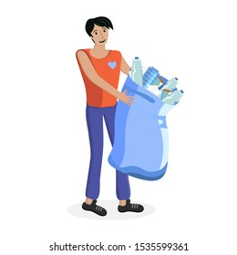 Volunteer picking up plastic garbage into bags outdoor. Young man collecting trash. Volunteering, ecology, environment concept. Cartoon flat illustration. Sorting and recycling waste. Nature cleanup.
