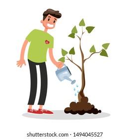 Volunteer plant the green tree. Idea of gardening and social work. Activist water ground. Isolated vector cartoon illustration