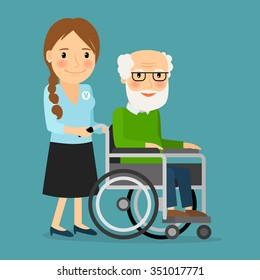 Volunteer pushing wheelchair with disabled old man. Helping elderly and sick people. Vector illustration.