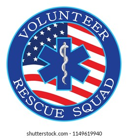Volunteer Rescue Squad Design With Flag is an illustration that can be used to represent rescue volunteer squad crews or members. Just add your name or location. Great for logos, ads, flyers, t-shirts
