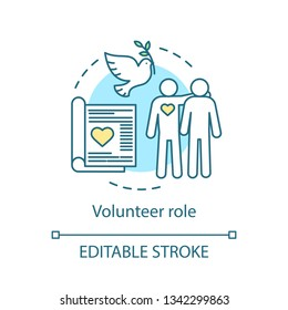 Volunteer role concept icon. Befriending, mentoring activity. Charity importance. Gratuitous help idea thin line illustration. Vector isolated outline drawing. Editable stroke