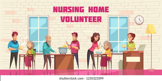 Volunteer social help and support for elderly people in nursing home flat cartoon horizontal banner vector illustration