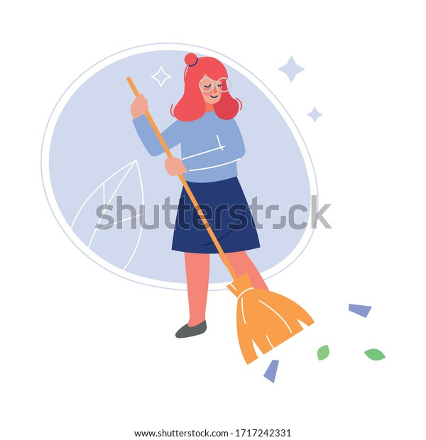 Volunteer Sweeping Outdoor with Broom, Girl Helping to Remove Autumn Leaves Vector Illustration