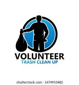 Volunteer Trash Clean Up Logo Template Design Vector, Emblem, Design Concept, Creative Symbol, Icon