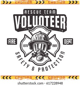 Volunteer vector emblem for fire department in vintage style isolated on background with grunge textures