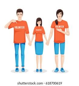 Volunteer workers holding hands together, vector illustration