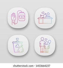 Volunteering app icons set. Altruistic activity. Blood and food donation, orphans care, garbage disposal. UI/UX user interface. Web or mobile applications. Vector isolated illustrations