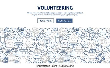 Volunteering Banner Design. Vector Illustration of Line Web Concept.