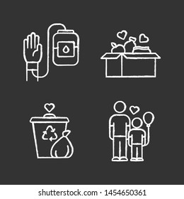 Volunteering chalk icons set. Altruistic activity. Blood and food donation, orphans care, garbage disposal. Isolated vector chalkboard illustrations