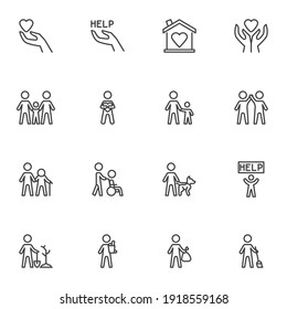 Volunteering and charity line icons set, outline vector symbol collection, linear style pictogram pack. Signs, logo illustration. Set includes icons as family relationship, friendship togetherness