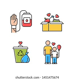 Volunteering color icons set. Altruistic activity. Blood and food donation, orphans care, garbage disposal. Isolated vector illustrations