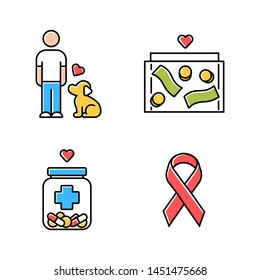 Volunteering color icons set. Humanitarian assistance. Altruistic activity. Animals welfare, donation box, medical aid, awareness ribbon. Isolated vector illustrations