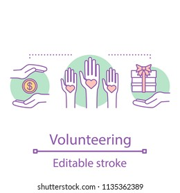 Volunteering concept icon. Charity idea thin line illustration. Fundraising. Donation. Vector isolated outline drawing. Editable stroke