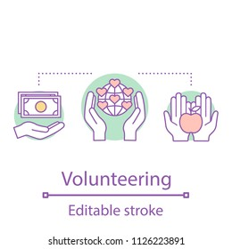 Volunteering concept icon. International charity. Donation. Fundraising idea thin line illustration. Charitable foundation. Vector isolated outline drawing. Editable stroke