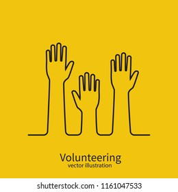 Volunteering concept minimal black line design. Raised hands up. Volunteering charity. Template poster banner. Vector illustration flat style. Isolated on background.