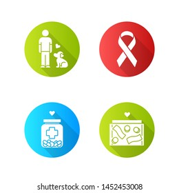 Volunteering flat design long shadow glyph icons set.  Humanitarian assistance. Altruistic activity. Animals welfare, donation box, medical aid, awareness ribbon. Vector silhouette illustration