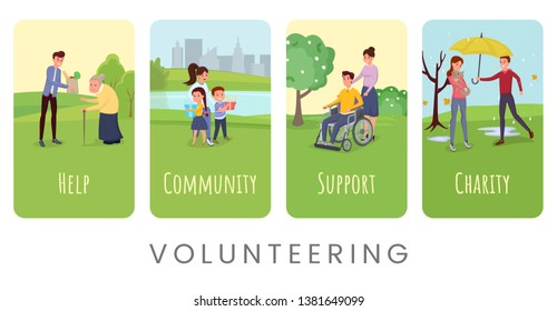 Volunteering flat vector banner templates set. Helping disabled and lonely people, supporting orphan asylums typography. Charity organization protecting homeless animals, abandoned pets