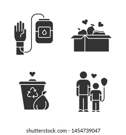 Volunteering glyph icons set. Altruistic activity. Blood and food donation, orphans care, garbage disposal. Silhouette symbols. Vector isolated illustration