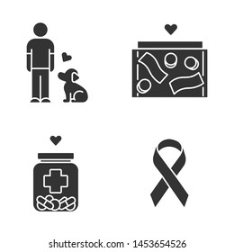 Volunteering glyph icons set. Humanitarian assistance. Altruistic activity. Animals welfare, donation box, medical aid, awareness ribbon. Silhouette symbols. Vector isolated illustration