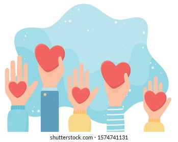 volunteering, help charity raised hands with hearts love vector illustration