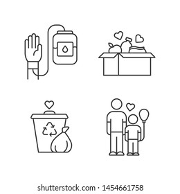 Volunteering linear icons set. Altruistic activity. Blood and food donation, orphans care, garbage disposal. Thin line contour symbols. Isolated vector outline illustrations. Editable stroke