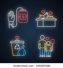 Volunteering neon light icons set. Altruistic activity. Blood and food donation, orphans care, garbage disposal. Glowing signs. Vector isolated illustrations
