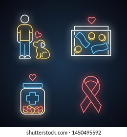 Volunteering neon light icons set. Humanitarian assistance. Altruistic activity. Animals welfare, donation box, medical aid, awareness ribbon. Glowing signs. Vector isolated illustrations