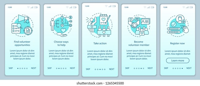 Volunteering onboarding mobile app page screen vector template. Humanitarian help. Volunteer program walkthrough website steps with linear illustrations. UX, UI, GUI smartphone interface concept