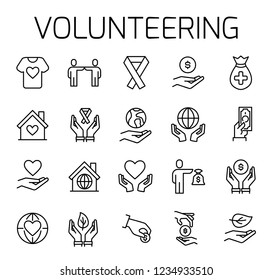 Volunteering related vector icon set. Well-crafted sign in thin line style with editable stroke. Vector symbols isolated on a white background. Simple pictograms.