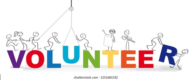 Volunteering team and the word volunteer vector illustration concept - Group of diversity people volunteer