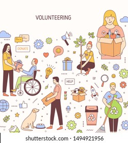 Volunteering vector banner design. Altruistic activity concept illustrations. Sympathy, donation and charity. Animal rescue shelter, helping people, cleaning and sweeping garbage design elements.