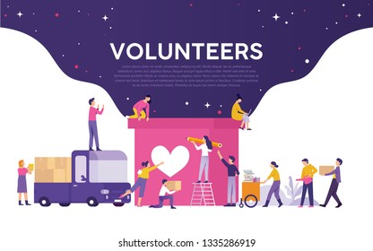 volunteering vector illustration concept media, the volunteer team worked together to help and collect donations with large boxes with pictures of hearts