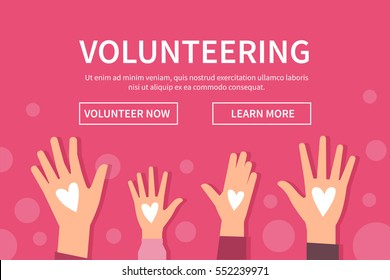 Volunteering web banner. Concept vector illustration with raised hands.