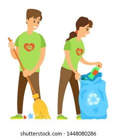 Volunteering work of people vector, isolated man and woman with garbage bin, man sweeping floor and woman collecting litter plastic bottle environmental care