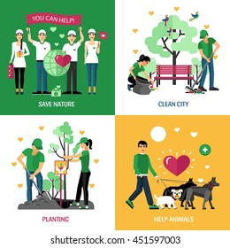 Volunteers 2x2 design concept set of help animals planting clean city and save nature action compositions flat vector illustration