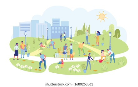Volunteers and Active Citizens Engaged in Landscaping and Greening City Park. Spring Beautification in Town Garden. People Cartoon Characters Planting Trees and Bushes. Flat Vector Illustration.