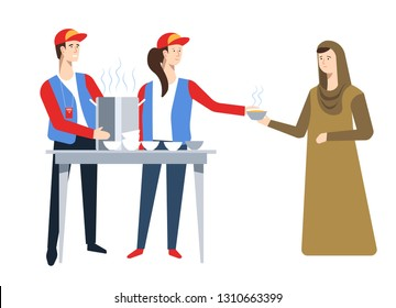 Volunteers and Arab woman refugees humanitarian aid food vector hot soup saucepan and bowls help and charity homeless immigrant resettlement political shelter or asylum man and woman in uniform.