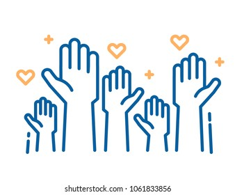 Volunteers and charity work. Raised helping hands. Vector thin line icon illustrations with a crowd of people ready and available to help and contribute. Positive foundation, business, service.