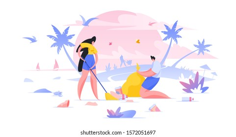 Volunteers cleaning beach together flat vector illustration. Social workers cartoon characters collecting garbage in bag. Tropical public area, dirty exotic park cleaning. Nature protection
