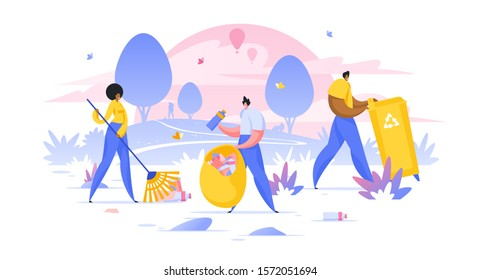 Volunteers cleaning public recreational park flat vector illustration. Male and female cartoon characters collecting garbage in bag. People picking trash on nature. Environment protection