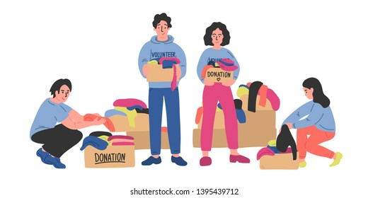 Volunteers. Clothes donation. Group of female and male volunteers sorts out clothes in cardboard donation boxes. Vector illustration.